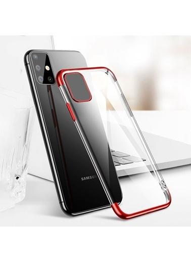 MobilCadde Samsung Galaxy A41 Eiroo Radiant Kenarlı Şeffaf Silikon Telefon Kılıfı Kırmızı